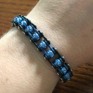 """Jewelry - 7.25"""" Black/Blue Bike Biker Chain Bling Bracelet"""